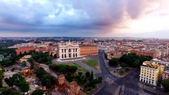 aerial view of san giovanni in laterano at morning - rome italy stock videos & royalty-free footage