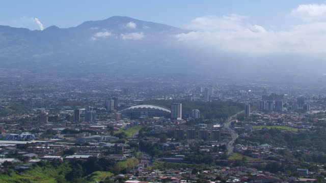 aerial view of san jose cityscape with estadio nacional de costa rica stadium, costa rica - costa rica video stock e b–roll
