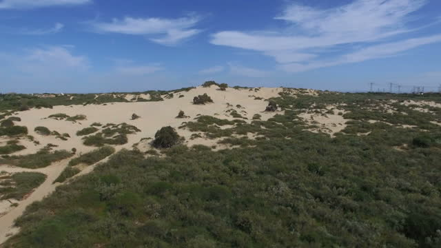 Aerial view of Sand Dunes close to mediterranean sea