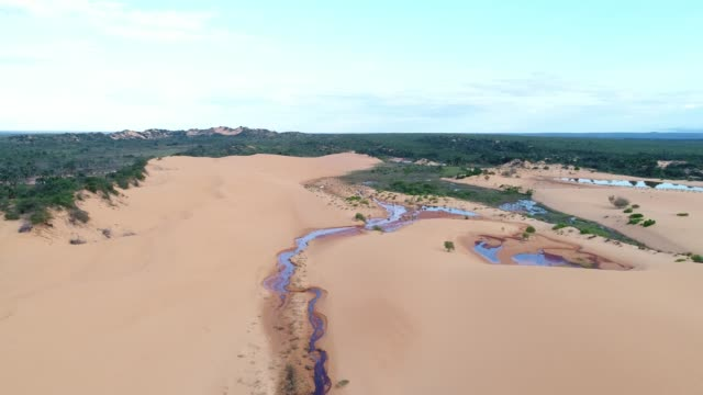 aerial view of sand dunes in jalapão, tocantins, brazil - tocantins stock videos and b-roll footage