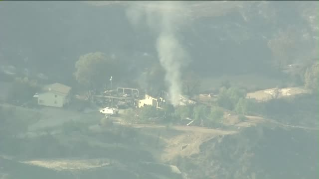 aerial view of sand fire in santa clarita - santa clarita stock videos & royalty-free footage