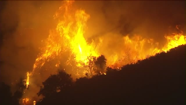 ktla aerial view of sand fire in santa clarita - santa clarita stock videos and b-roll footage