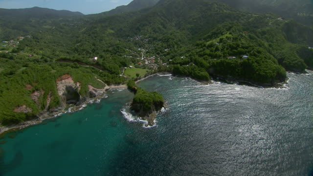 Aerial view of Sandwich Bay and coastal mountains on the Island of Dominica.