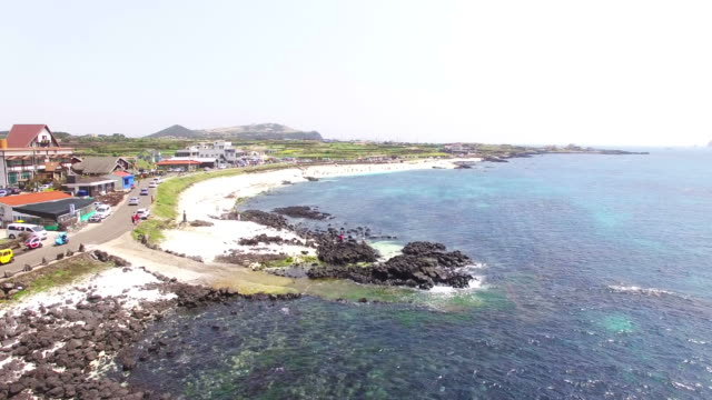 Aerial view of Sanho Beach (It's only coral beach in Korea)
