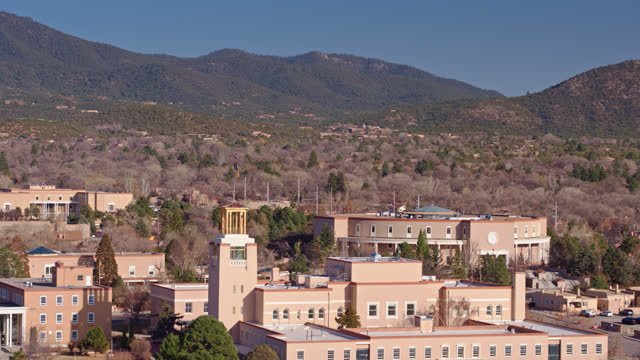 aerial view of santa fe, new mexico - new mexico stock videos & royalty-free footage