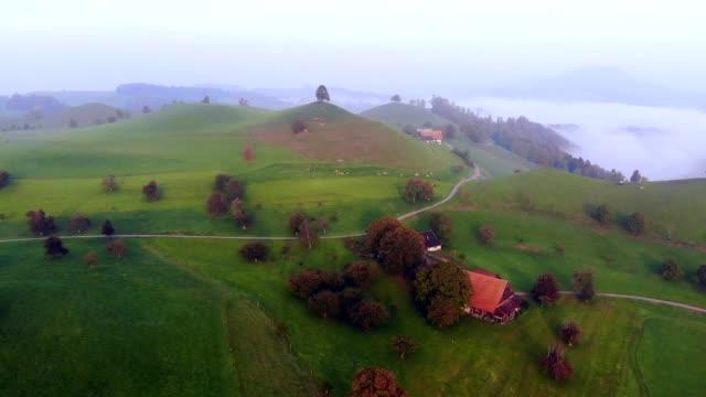 aerial view of santa maddalena village in val di funes / south tyrol - italy - north tirol stock videos & royalty-free footage