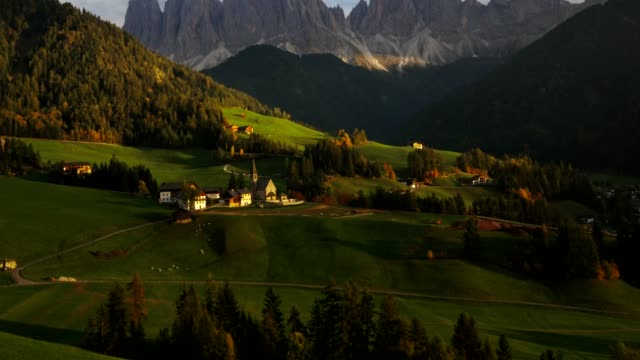 aerial view of santa maddalena village in val di funes / south tyrol - italy - monastery stock videos & royalty-free footage