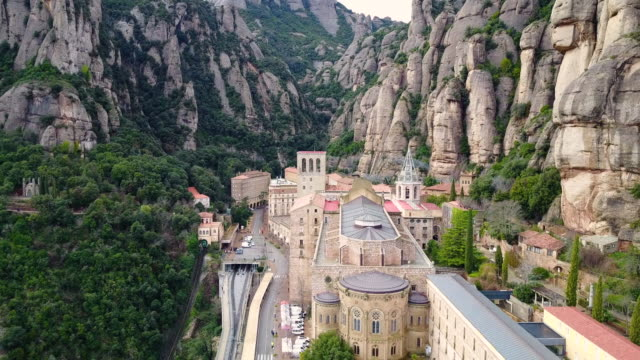 aerial view of santa maria de montserrat abbey - monastery stock videos & royalty-free footage