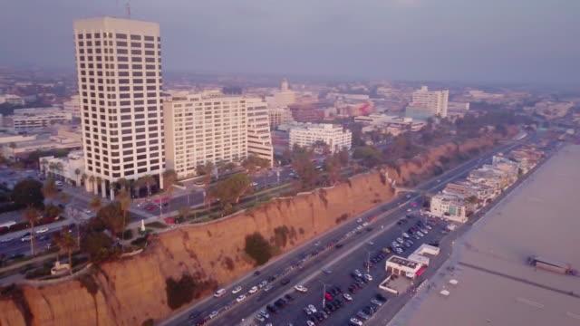 aerial view of santa monica, california - santa monica stock videos & royalty-free footage