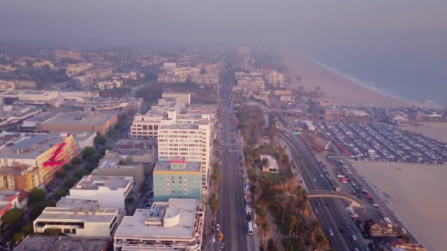 aerial view of santa monica, california - santa monica stock videos and b-roll footage