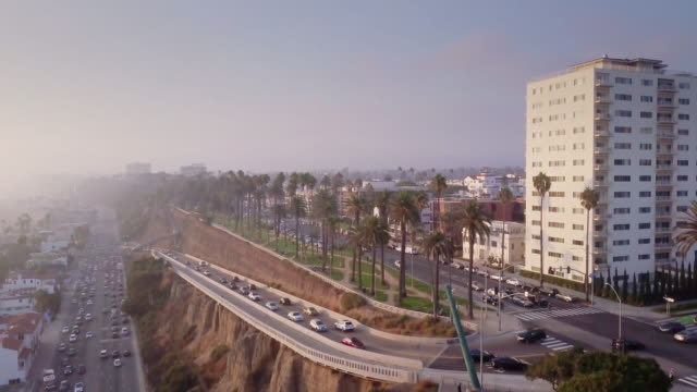 aerial view of santa monica, california - beverly hills stock videos & royalty-free footage