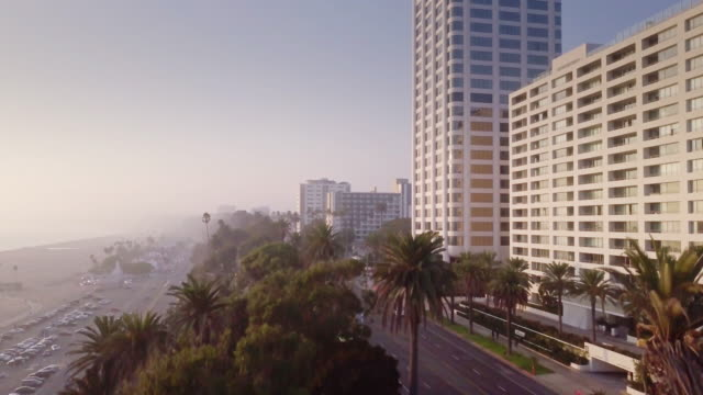 aerial view of santa monica, california - beverly hills california stock videos & royalty-free footage