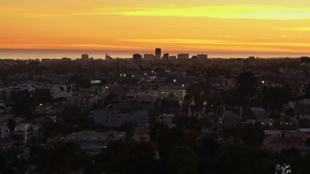 aerial view of santa monica from the east at sunset - westwood neighborhood los angeles stock videos & royalty-free footage