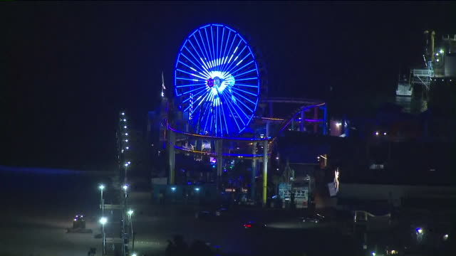 KTLA Aerial View of Santa Monica Pacific Wheel Dodgers Light Display