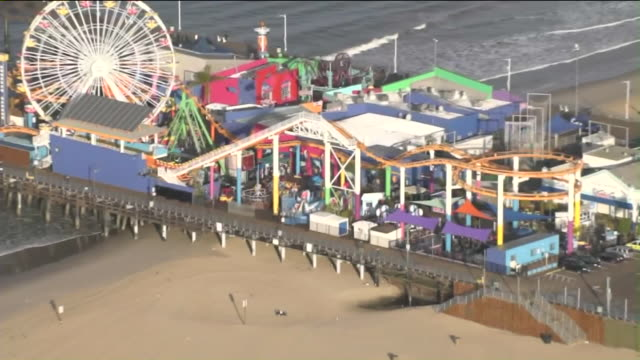 ktla aerial view of santa monica pier - santa monica pier stock videos & royalty-free footage