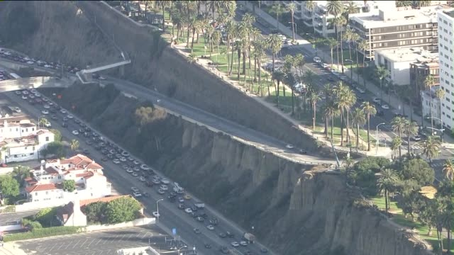 ktla aerial view of santa monica's iconic california incline closure for yearlong reconstruction project the bridge between ocean avenue and pacific... - ocean avenue stock videos & royalty-free footage