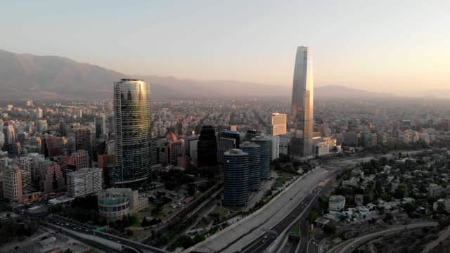 aerial view of santiago financial district at sunset - chile stock videos & royalty-free footage