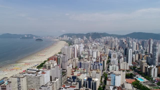 aerial view of santos in the state of sao paulo, brazil - são paulo stock videos & royalty-free footage