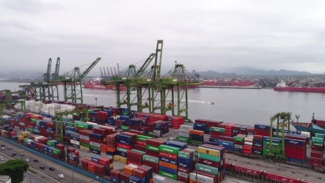 Aerial view of Santos Port in Brazil
