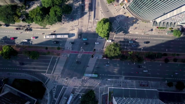 aerial view of sao paulo avenues and streets with drone - hot pink stock videos & royalty-free footage