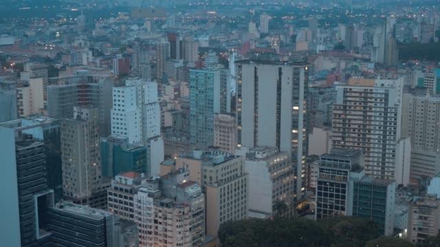 aerial view of sao paulo, brazil at night - são paulo stock videos & royalty-free footage