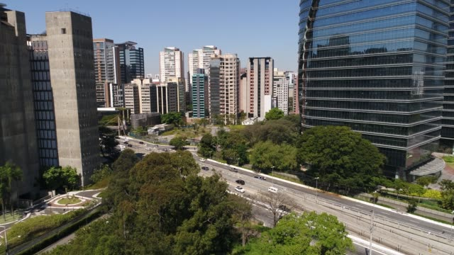 aerial view of sao paulo financial district - são paulo state stock videos & royalty-free footage