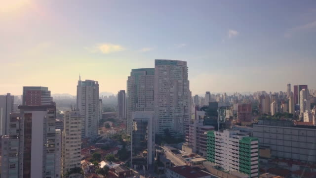 aerial view of sao paulo skyline with drone - general view stock videos & royalty-free footage