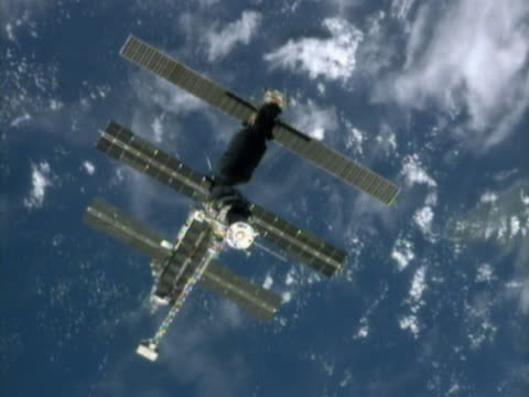Aerial view of Satellite orbiting the Earth