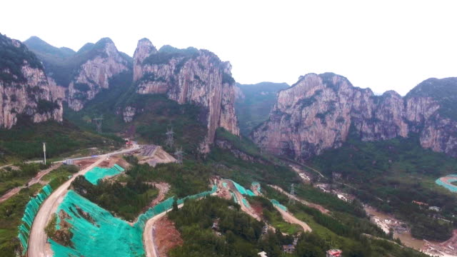 Aerial view of Scenic Cliff of Mountain and Crave, Guizhou Province, China