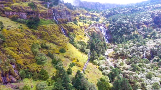 aerial view of scenic landscape of beautiful green mountain, jiaozi mountain, china - yunnan province stock videos and b-roll footage