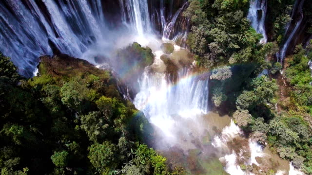 Aerial view of Scenic Tropical Waterfall with Green Nature, Thi Lo Su Waterfall, Tak Province, Thailand