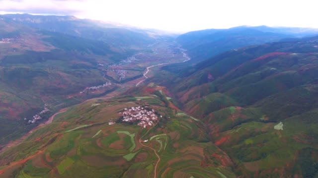 Aerial view of Scenic Village in Colorful Valley, Guizhou Province, China