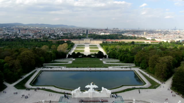 aerial view of schönbrunn palace with gardens/ vienna - wien stock-videos und b-roll-filmmaterial