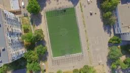 Aerial view of schoolyard football field