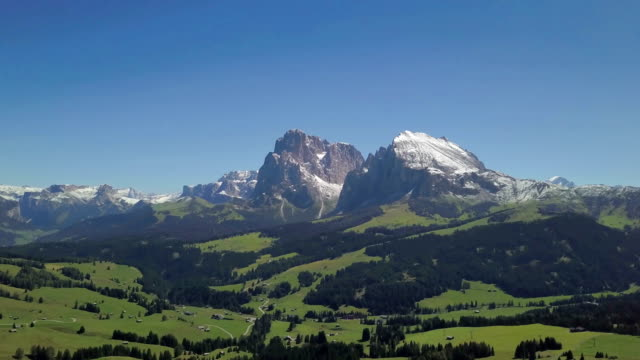Aerial view of Sciliar mountains and Seiser Alm