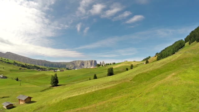 aerial view of sciliar mountains and seiser alm - pjphoto69 stock videos & royalty-free footage
