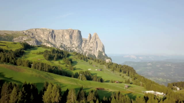 aerial view of sciliar mountains - seiser alm - dolomites - scilia stock videos & royalty-free footage