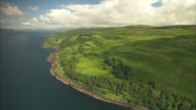 aerial view of scotland, isle of mull, clear close up, scotland, north atlantic ocean  - north atlantic ocean stock videos & royalty-free footage