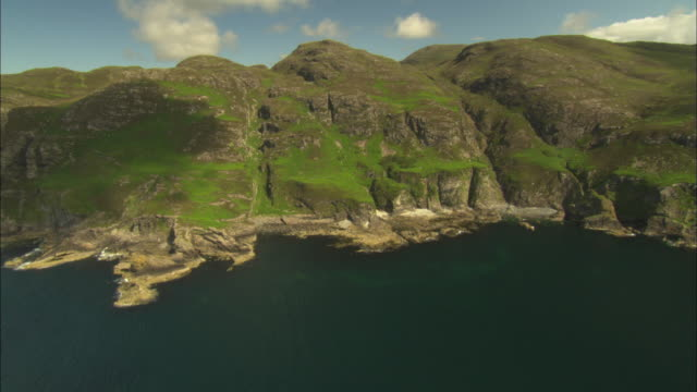 aerial view of scotland, isle of mull, coast of ardnamurchan, mainland, north west of tobermory, scotland, north atlantic ocean  - north atlantic ocean stock videos & royalty-free footage