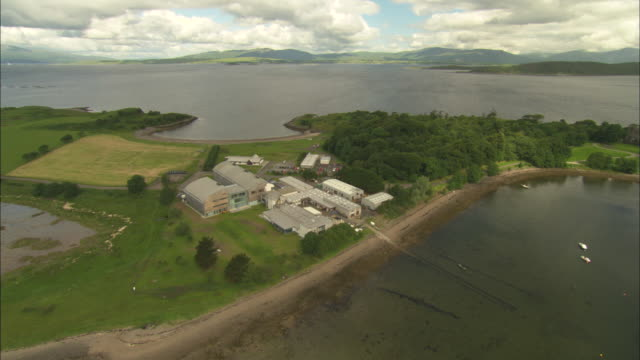 aerial view of scotland, isle of mull, dunstaffnage marine laboratory, scotland, north atlantic ocean  - north atlantic ocean stock videos & royalty-free footage