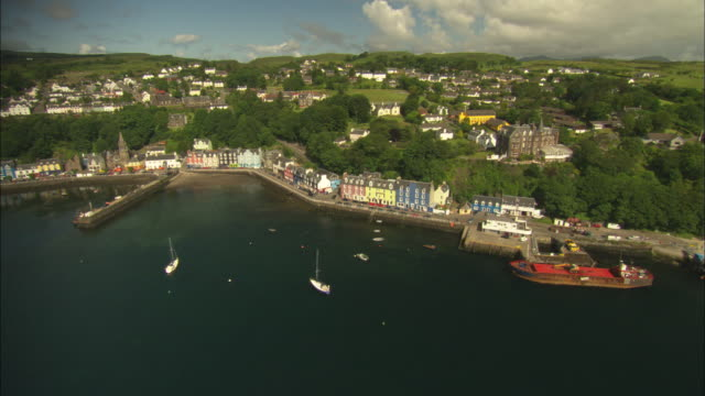 Aerial view of Scotland, Isle of Mull, Tobermory and harbour, Scotland, North Atlantic Ocean
