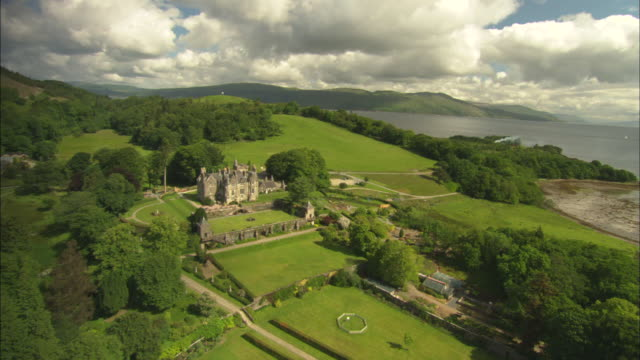 aerial view of scotland, isle of mull, torosay castle, mull, scotland, north atlantic ocean  - north atlantic ocean stock videos & royalty-free footage