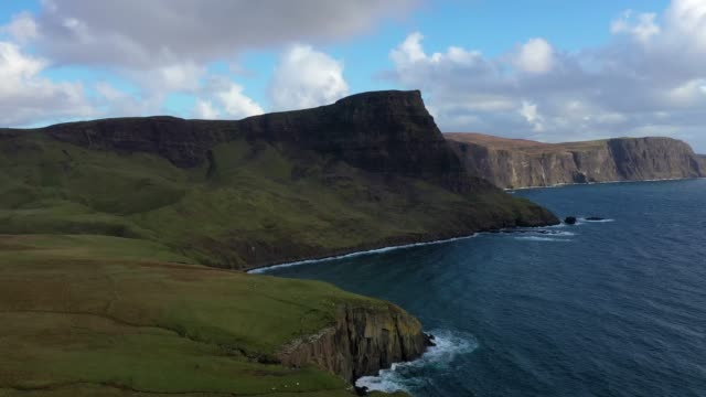 aerial view of scotland : isle of skye - neist point cliffs - scottish culture video stock e b–roll