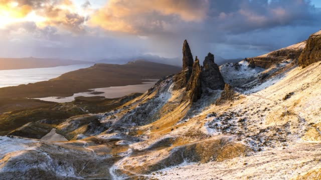 aerial view of scotland : isle of skye - old man of storr - scottish highlands stock videos & royalty-free footage