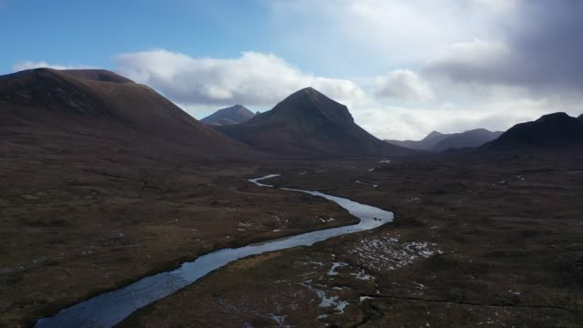 aerial view of scotland : isle of skye - sligachan - scottish culture stock videos & royalty-free footage