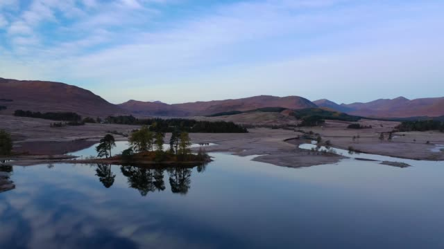 aerial view of scotland : loch tulla - scottish highlands stock videos & royalty-free footage