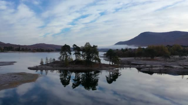 aerial view of scotland : loch tulla - smog stock videos & royalty-free footage