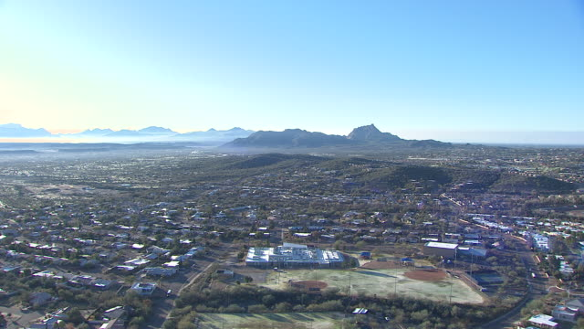 Aerial view of Scottsdale, Tempe area with the Superstition Mountains, Arizona, USA