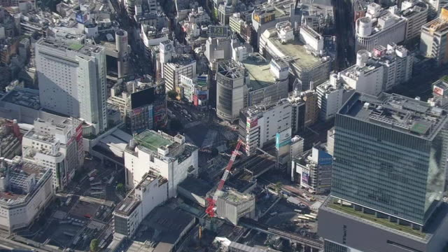 Aerial view of Scramble Crossing in Shibuya