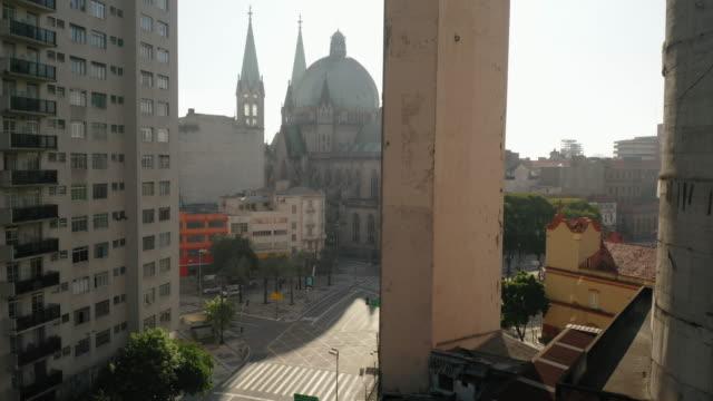 セ大聖堂、サンパウロ、ブラジルの空中写真 - サンパウロ州点の映像素材/bロール